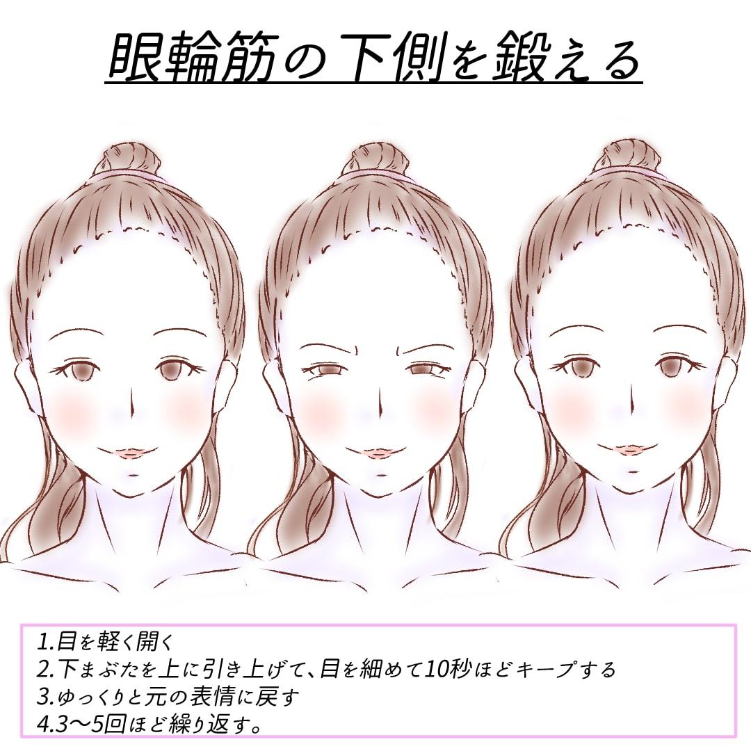 眼輪筋の下側を鍛えるトレーニング2