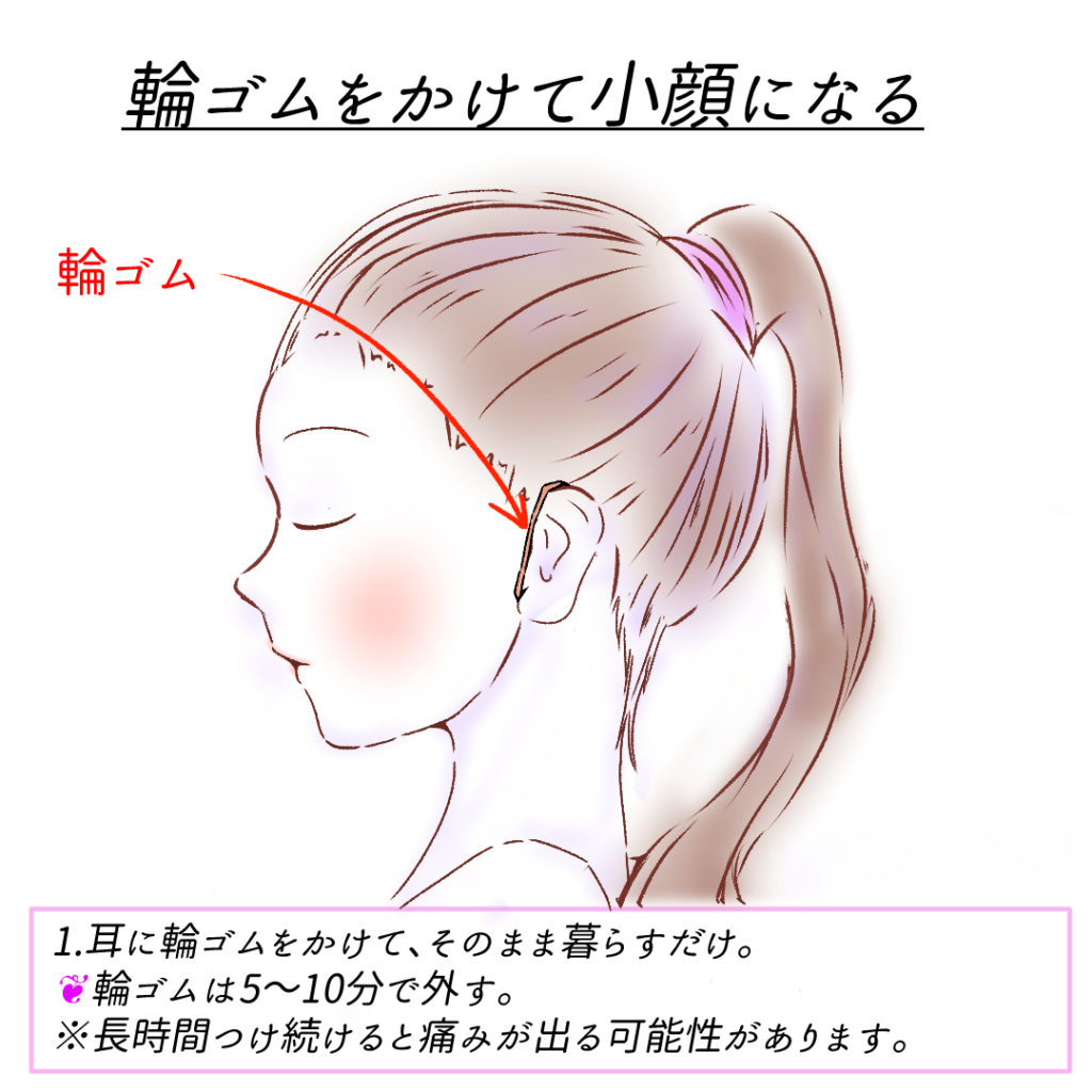 耳に輪ゴムをかけるだけ!超簡単小顔ケア2